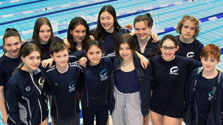 The Camden Swiss Cottage Swimming Club gold medalists from the 2020 Middlesex County Swimming Champi