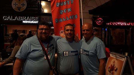 The Three Albert's On Tour as funds are raised for the Fishermen's Mission. The trio in France at th
