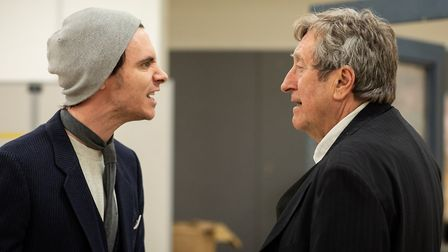 Harry Lloyd and Philip Jackson rehearse The Dumb Waiter at Hampstead Theatre