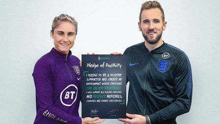 England captains Steph Houghton and Harry Kane back the FA's Pledge of Positivity campaign