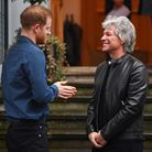 Jon Bon Jovi (right) greets the Duke of Sussex at the Abbey Road Studios in London where they will m