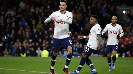 Tottenham Hotspur's Dele Alli celebrates scoring from the penalty spot during the Premier League mat