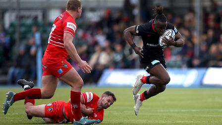 Saracens Rotimi Segun is tackled during the Gallagher Premiership match at Allianz Park, London.