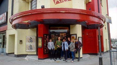 Members of the Tape Slide Newsreel group outside the Rio Cinema . Picture: Rio Cinema Archive