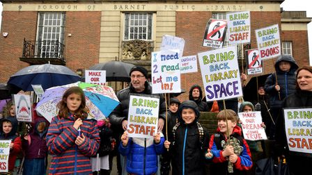 Protesters outside East Finchley Library. Picture: Polly Hancock