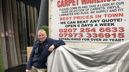 Wag Smith outside Hackney Flooring, his business of 30 years. Picture: Sam Gelder