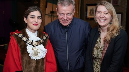 From left to right: Camden mayor Maryam Eslamdoust, Madness lead singer Suggs and Camden Council lea