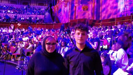 Performers Amal Chaher, from Kingsbury High School, and Christian Kiely-Charalambous, from UCL Acade
