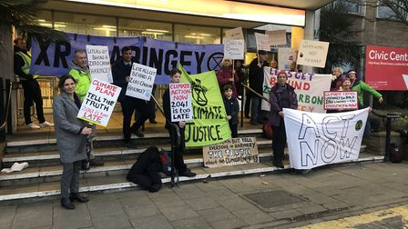 Extinction Rebellion campaigners outside of Haringey Civic Centre. Picture: XR Haringey