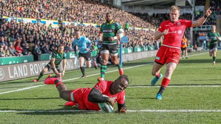 Saracens' Rotimi Segun scores his side's first try during the Gallagher Premiership match at Frankli
