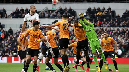 Tottenham Hotspur's Eric Dier (left) jumps to try and win the header during the Premier League match