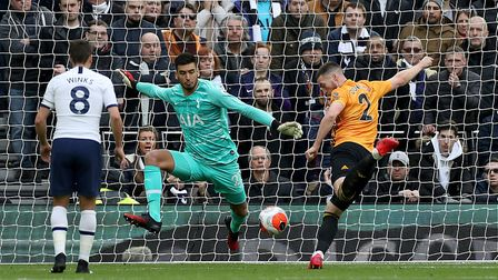 Wolverhampton Wanderers' Matt Doherty scores his side's first goal of the game during the Premier Le