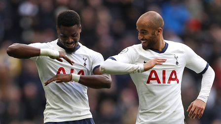 Tottenham Hotspur's Serge Aurier (left) celebrates scoring his side's second goal of the game with t