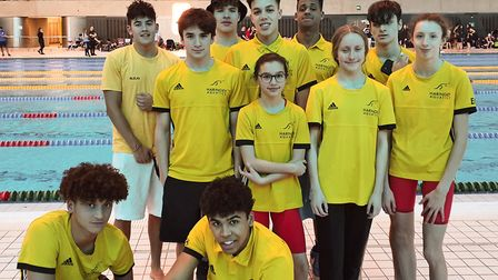 Haringey Aquatics face the camera at the Middlesex Championships