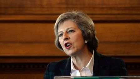 Theresa May delivers a speech on Great Britain, Europe and our place in the world. Photograph: Stefa