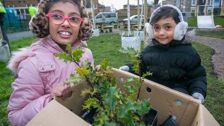 Redema, 9, and Gania, 6, on the Morland Estate. Picture: Gary Manhine/ Hackney Council