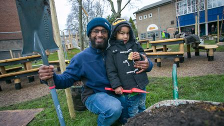 Sonny and his son Blu, 4, on the Morland Estate. Picture: Gary Manhine/ Hackney Council