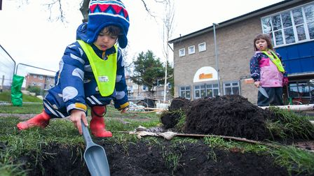 Jaya, 2, on the Morland Estate. Picture: Gary Manhine/ Hackney Council