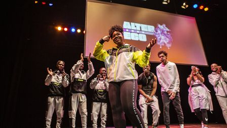 Phoenix, 14, performed spoken word on the night. Picture: Fabrice Bourgelle