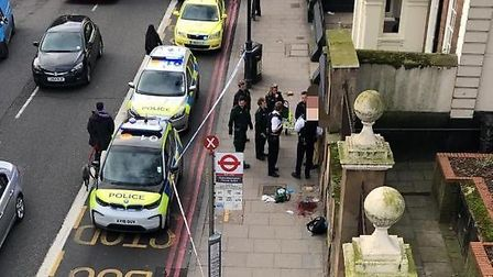 A man was found stabbed in Stoke Newington High Street this morning. Picture: @999London