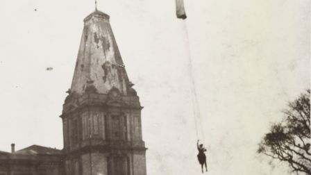 Dolly Shepherd performing one of her incredible parachute stunts in the early 20th century. Picture: