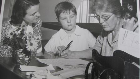 A pupil being interviewed for a place by headmistress Ms Bartholomew. Picture: Henry Grant