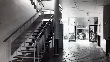 The stairs leading to classrooms, with the dining hall in the background. Picture: Henry Grant