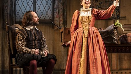 David Mitchell and Gemma Whelan in Upstart Crow at the Gielgud Theatre picture Johan Persson