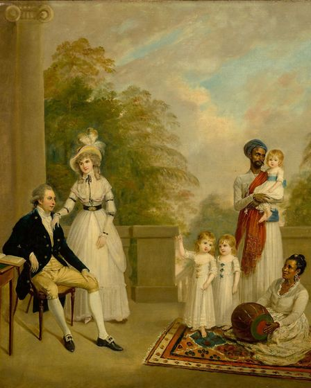 Portrait of John Petrie and his wife Anne (nee Keble) and three of their children, their Ayah and a