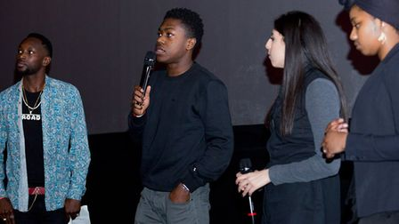 Young people Jordan Anedozie, Leyla Cin and Ronni Winter with DJ Teriy Keys at the I'm Out premiere.