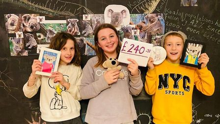 Flo Southwood, Ayla Venditti and Joe Southwood who raised �240 for koalas. Picture: Lucy Griffiths