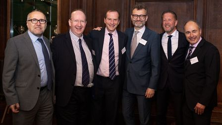 From left to right: Clive Coleman, Lord Daniel Finkelstein, Jeremy Amias, Hugh Dennis, Alan Jacobs a