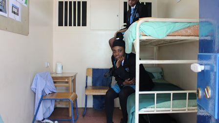 Students finding out first hand what the inside of a prison cell is like. Picture: Petchey Academy