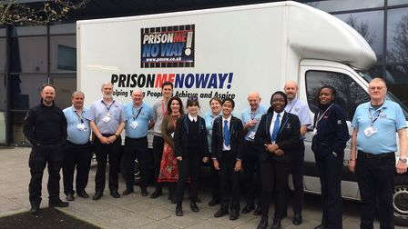 Charity patrons Stephen Hagan and Wendy Wasson with the team from Prison! Me! No way! and students f