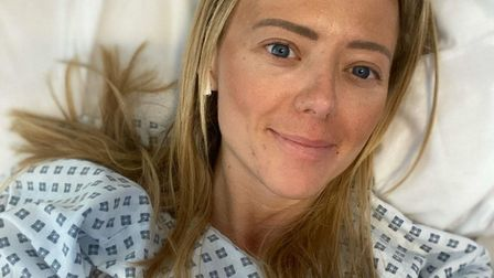 Jenny Wordsworth in hospital recovering from her polar thigh injury. Picture: Royal Free / Jenny Wor