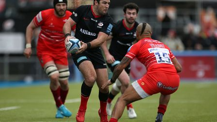 Saracens Brad Barritt in action during the Gallagher Premiership match at Allianz Park, London.