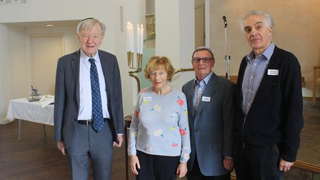 Lord Alf Dubs, Marianne Summerfield, Peter Summerfield and Peter Bohm at Belsize Square Synagogue. P