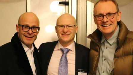 Comedy stars Harry Hill and Sean Lock with Next Meal founder Martin Stone at the charity's launch. P