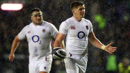 England's Owen Farrell (right) during the Guinness Six Nations match at BT Murrayfield Stadium, Edin