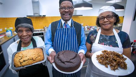 Shereka Dunbar, Elon Charles and Beryl Sharp at one of the Windrush cooking events. Picture: Gary Ma