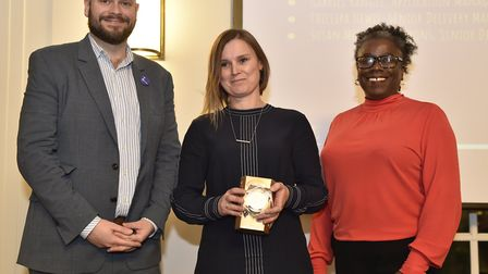 Mayor Glanville and Cllr Williams with one of the award winners. Picture: Adam Holt/ Hackney Council