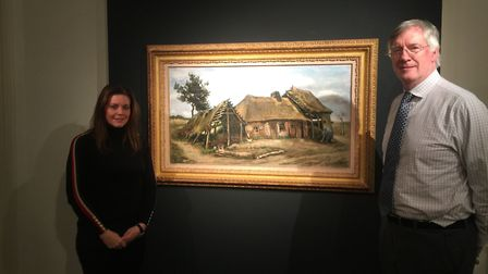 From Dickinson, specialist James Roundell and managing director Emma Ward with Van Gogh�s Peasant Wo