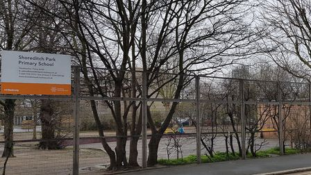 The plot of land in the playground of Shoreditch Park Primary School that Hackney Council wants to b