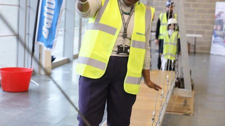 Chair of the London Assembly Jennette Arnold, OBE, testing out the bridge. Picture: London Legacy De