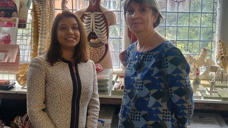 Tulip Siddiq with Dr Kerstin Rolfe at the British College of Osteopathic Medicine in Finchley Road.