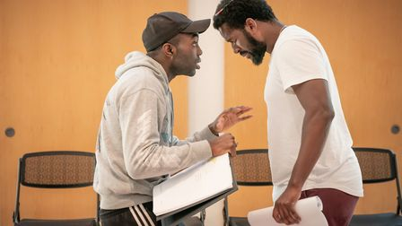Gershywn Eustache Jr and Paapa Essiedu in Pass over by Antoinette Nwandu at Kiln Theatre pictures Ma