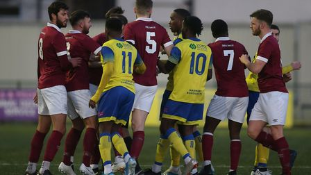 Tempers flare during Haringey Borough vs Potters Bar Town. Picture: George Phillipou/TGS Photo