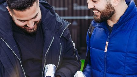 Co-founders Cem and Roj with their What The Pitta vegan doner kebab. Picture: What The Pitta