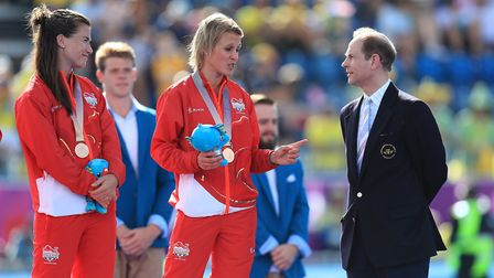England captain Alex Danson talks to HRH Prince Edward after receiving her bronze medal at the 2018