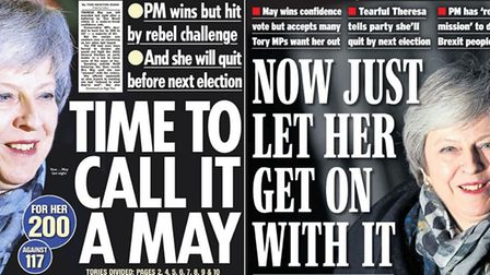 Front pages of the national newspapers after Theresa May survives a vote of no confidence. Photograp